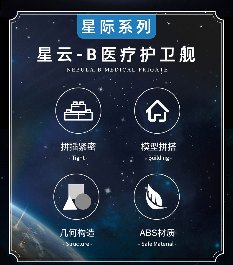 宇星模王积木 星际系列星云B医疗保卫舰21001