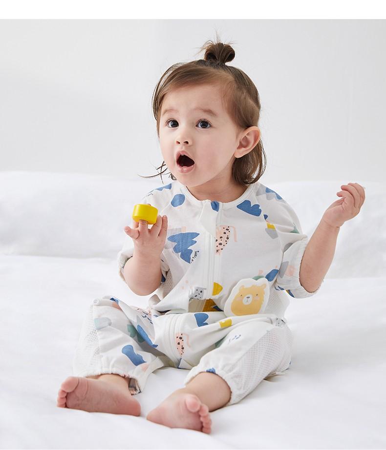 威尔贝鲁WELLBER婴儿睡袋分腿新生儿包包防踢被儿童汗布春秋季四季通用 粉花朵(7分袖)(侧开网眼) 75cm(建议身高75-85)
