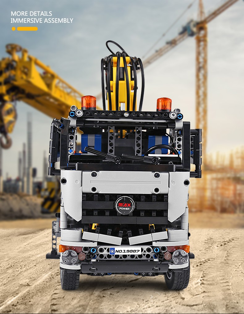 宇星模王积木 科技遥控卡车工程车 气动系列气动奔驰卡车 19007