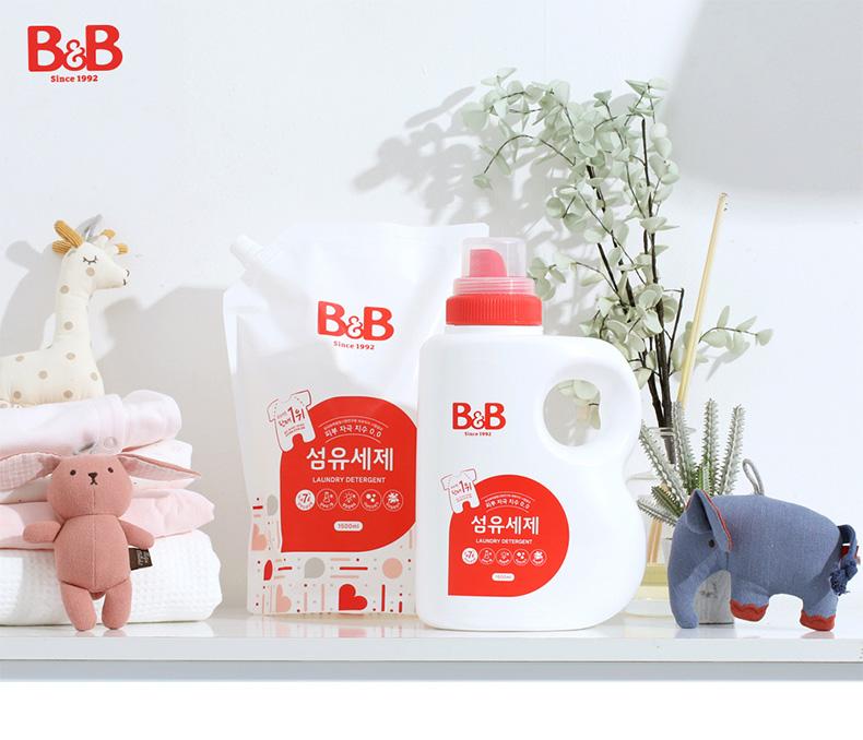 【明星推荐】韩国原装进口 保宁 B&B 宝宝服装洗衣液 新生儿婴幼儿儿童专用 红色