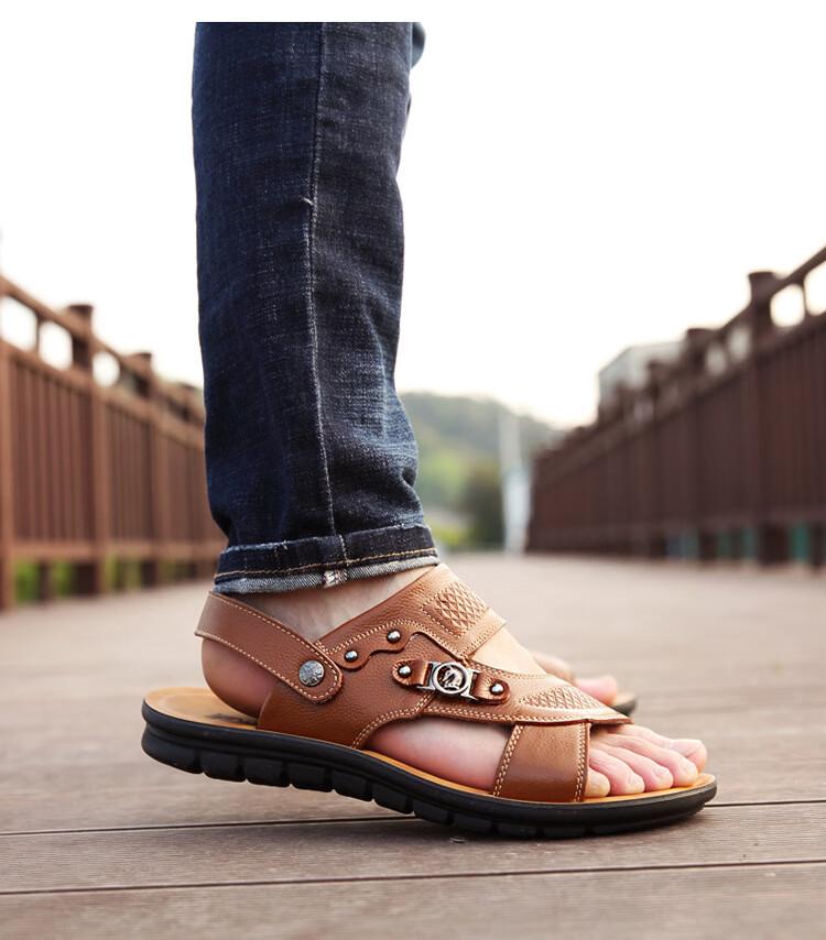 38302-凉鞋2021年新款男士凉鞋青年透气牛皮沙滩鞋男休闲潮简约套脚凉鞋男 2211凉鞋黑 44-详情图