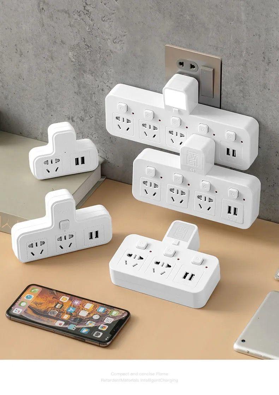 无线插座多功能转换器插头一转多孔插排带独立开关小夜灯USB插板 4雷+夜灯 独立开关