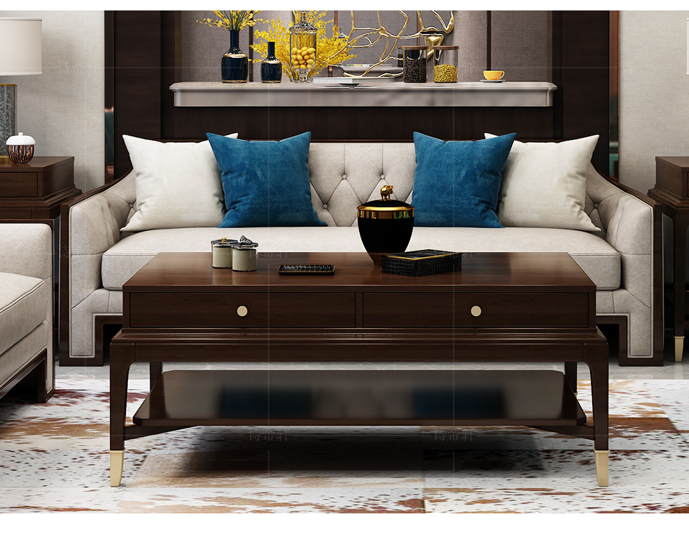 诗帝轩沙发真皮沙发实木沙发小户型美式轻奢客厅意式极简布艺沙发网红沙发茶几组合ins真皮单人位沙发(皮款)