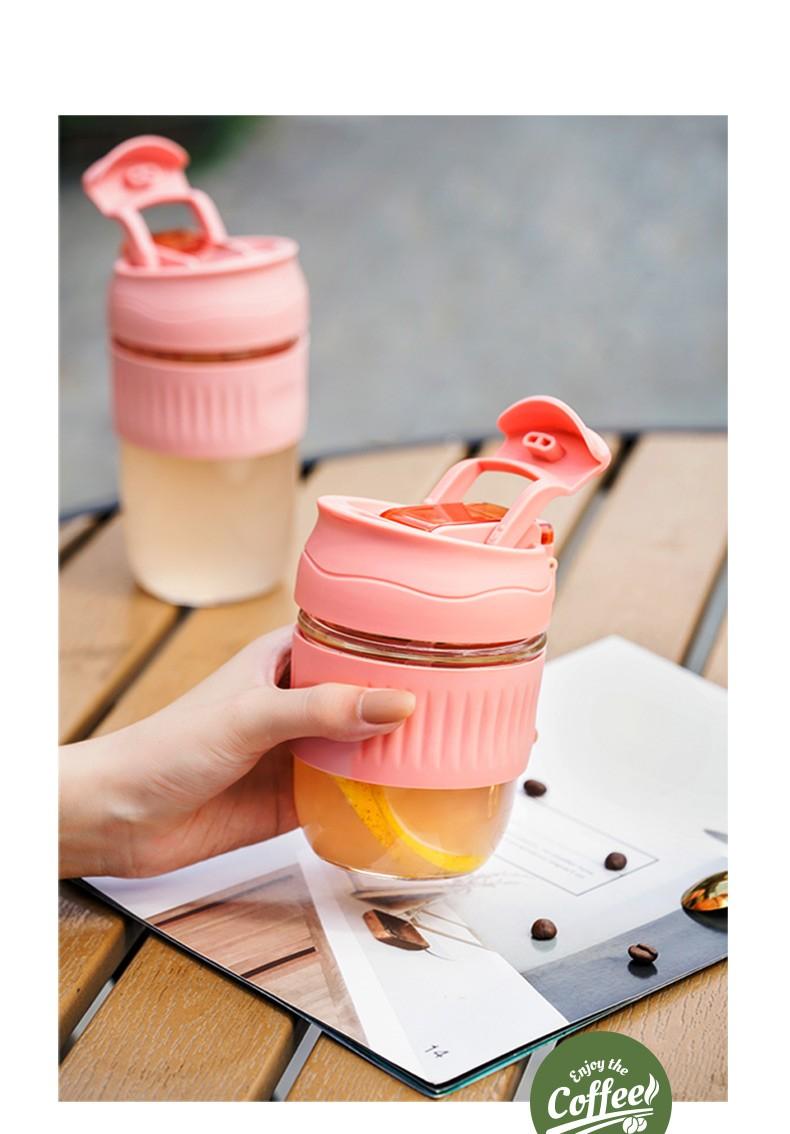德国MOOSEN 玻璃杯男女士双饮杯盖随手咖啡杯防滑吸管杯家用隔热硅胶套果汁茶水杯子 【一盖两用】梨花白500ml