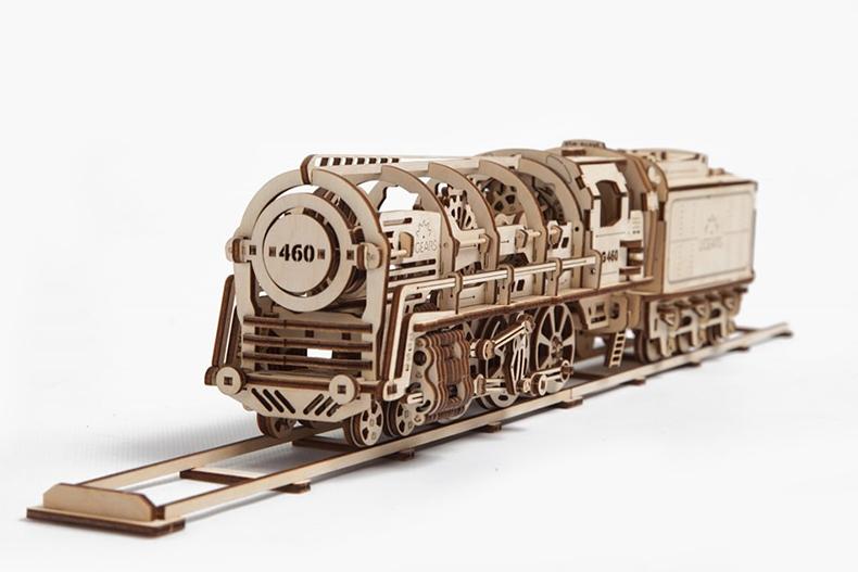 ugears乌克兰进口木质拼装玩具 蒸汽机车火车