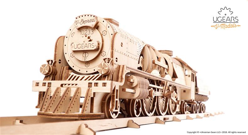 乌克兰ugears木质机械传动模型 火车二代V-Express