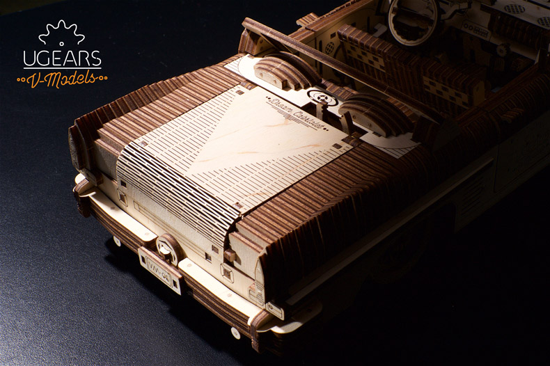 ugears乌克兰木质发条拼装玩具 梦幻敞篷跑车