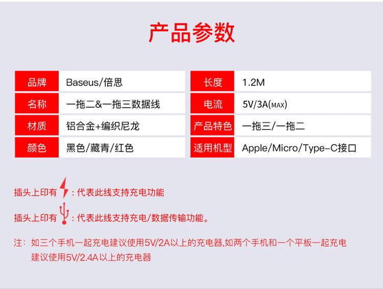 倍思 苹果/Type-c/安卓数据线三合一快充手机充电器线 iPhoneX/XS Max/XR/8plus 小米华为p20电源线 1.2米 红
