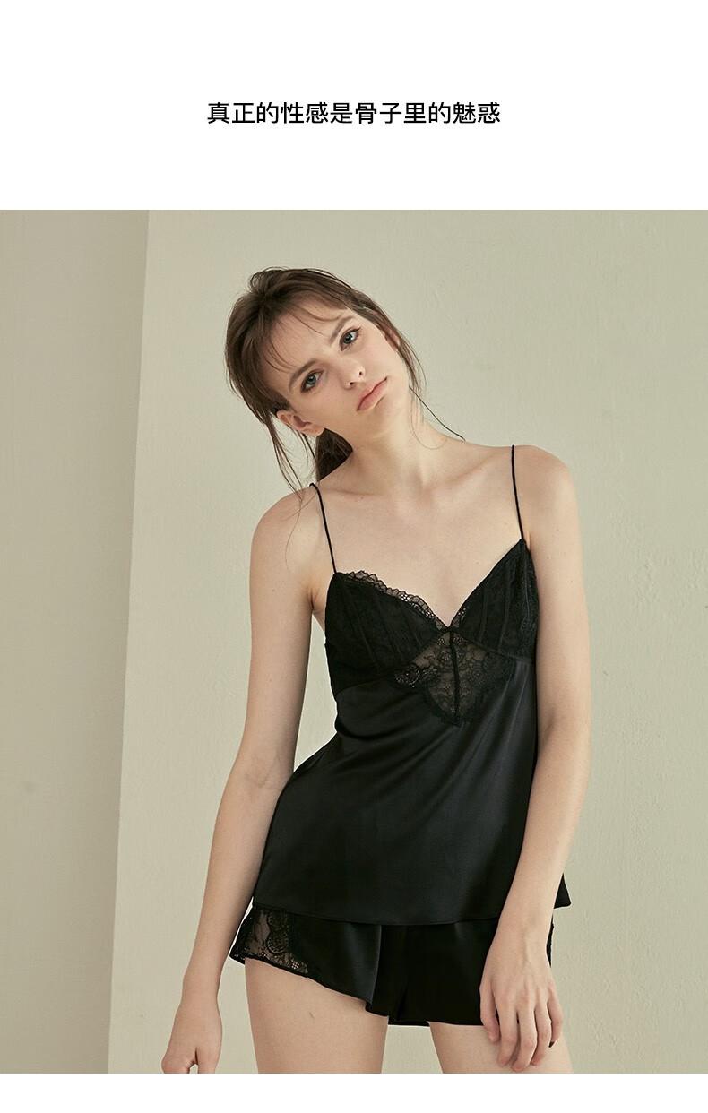 桑罗睡衣女春春吊带短裤两件套睡衣蕾丝性感桑蚕丝家居服套装03922826 粉色 S
