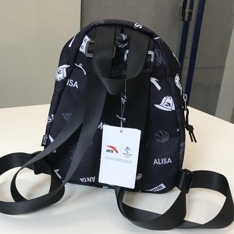運動包安踏雙肩包時尚學生書包背包旅行包大容量官方旗艦 -1黑色 均碼
