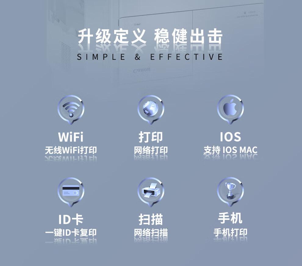 佳能iR2204N/2206AD复印机A3黑白激光打印机无线wifi打印扫描一体机办公复合机打印机2204N标配