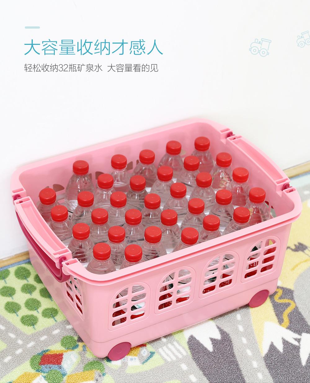 日本爱丽思IRIS 儿童玩具收纳筐可叠加塑料收纳箱儿童宝宝玩具收纳篮玩具整理筐爱丽丝 浅蓝色 54*39*25cm  53升