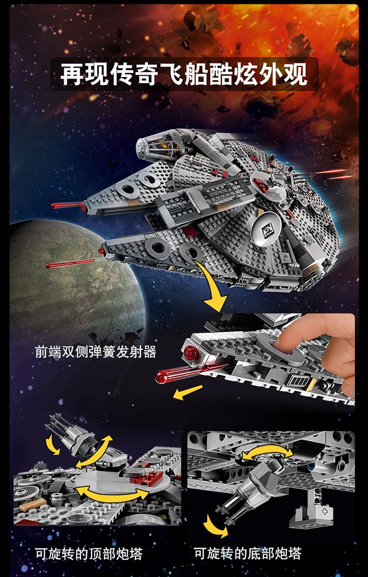 乐高(LEGO)积木 星球大战系列 9岁+ 千年隼号 75257