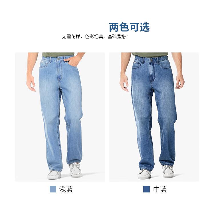 BILLION男士阔腿牛仔裤宽松高腰商务休闲裤子2020夏季薄款速干面料J10692浅蓝色34(2.67尺)