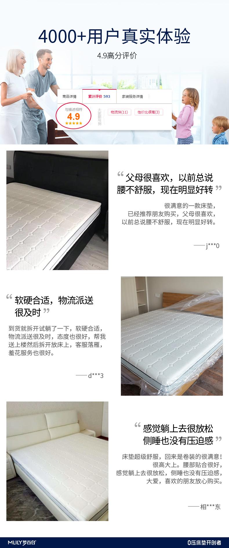 Mlily梦百合床垫朗怡0压厚垫独立弹簧静音记忆绵护脊床垫两面可用朗怡0压床垫1800*2000