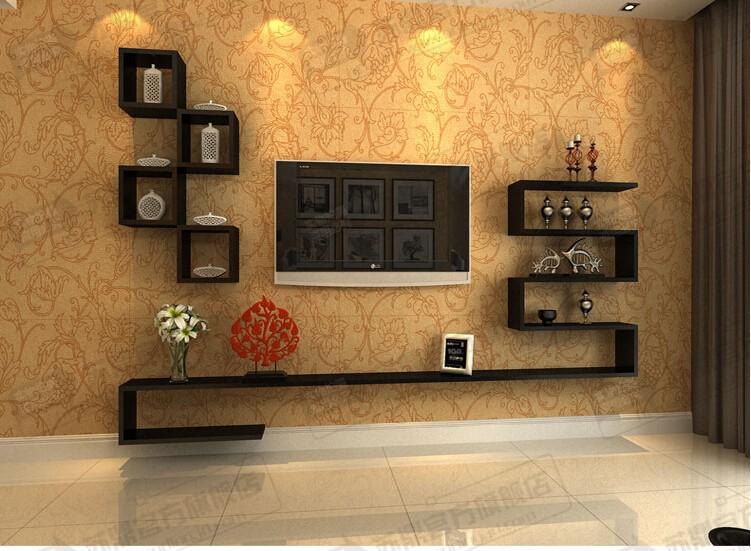 苏鼎创意电视背景墙装饰架电视墙柜隔板机顶盒架电视柜组合尺寸可定做