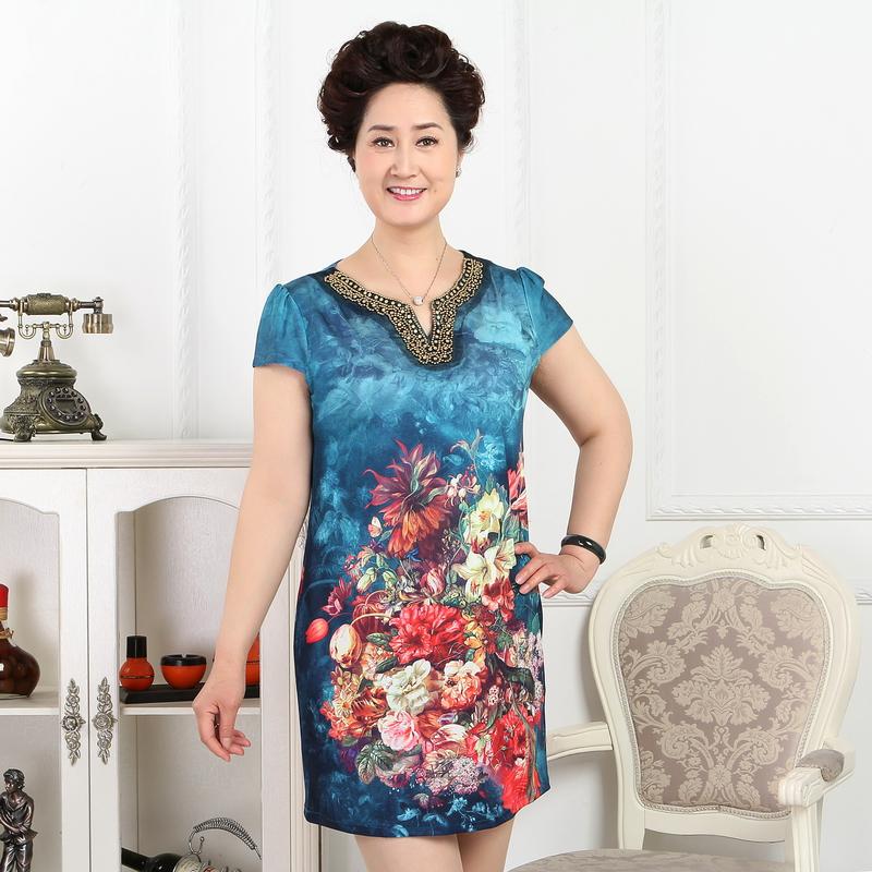 2015夏季新款中老年女裝v領仿真絲印花連衣裙圖片