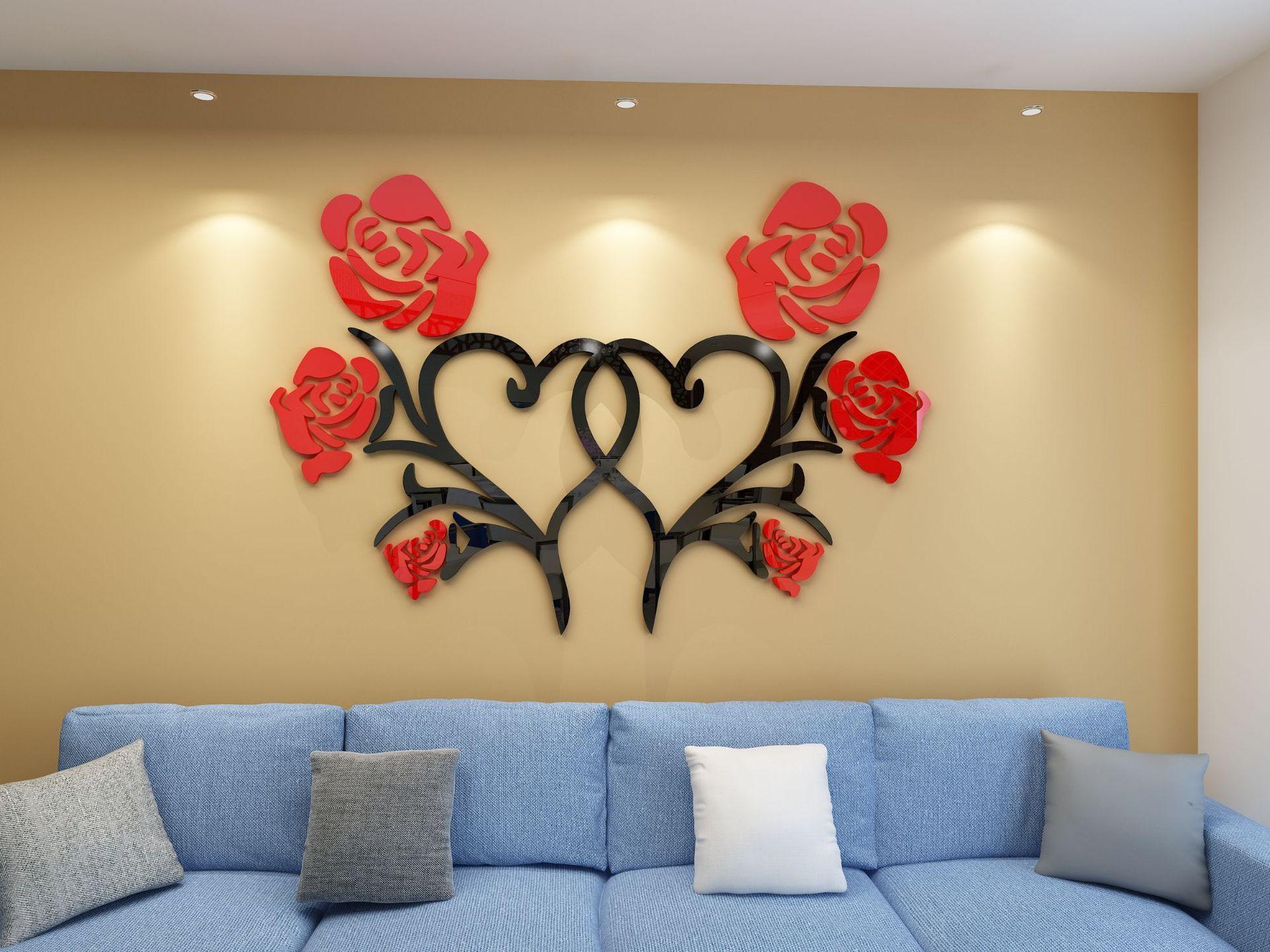 Three Jin Heart Flower Creative 3D Crystal Acrylic Stereo Wall ...