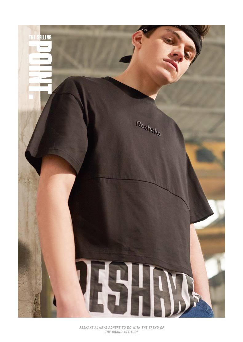 马克华菲潮牌Reshake夏短袖T恤男拼接加长宽松廓形