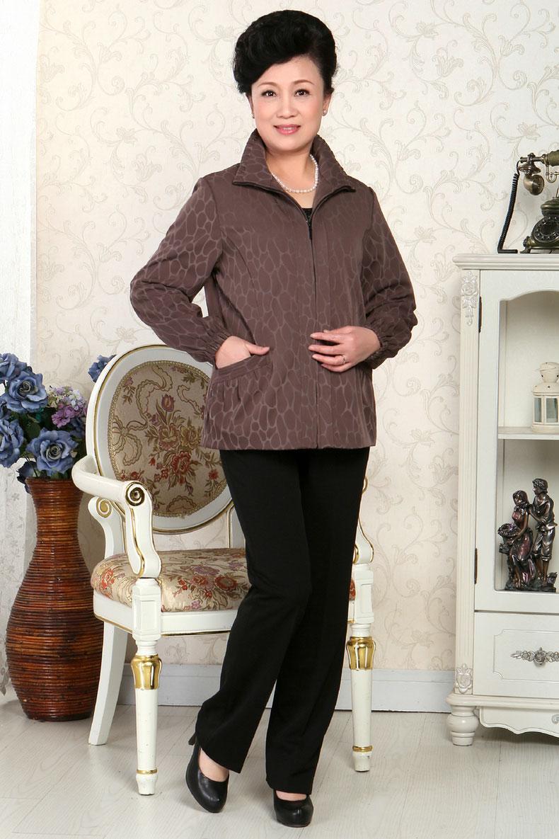 依美中老年春款女外套中年女装夹克妈妈装风衣长袖春款短外套1402 02