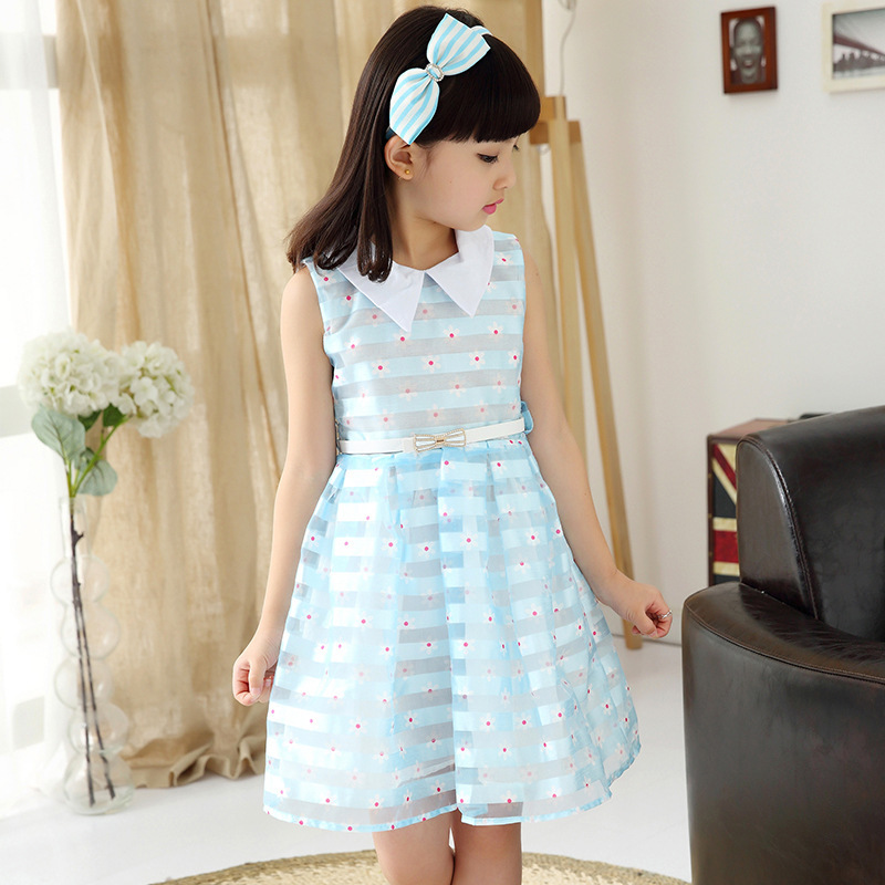 女童无袖连衣裙2016夏装新款童装公主裙女孩中大儿童