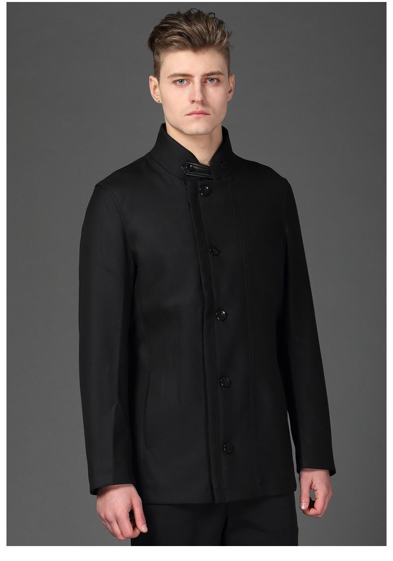 d&x意大利品牌商務男士休閑純羊毛休閑外套秋冬立領羊毛便裝西服 黑色圖片
