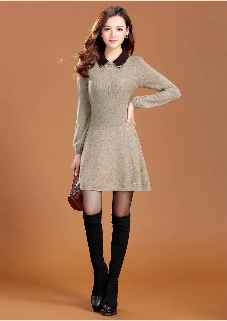 蓓嘉爾 中長款羊毛衫女款 長袖連衣裙 娃娃領減齡打底圖片