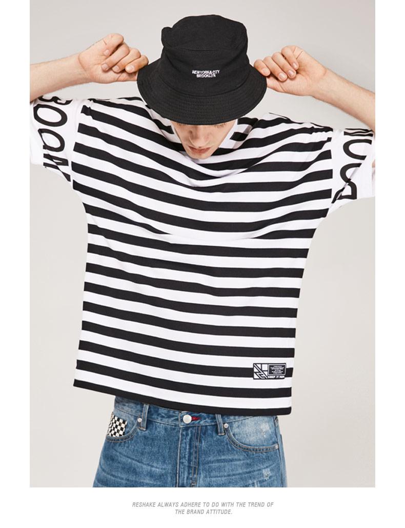 马克华菲潮牌Reshake夏季新品男士短袖T恤条纹休闲