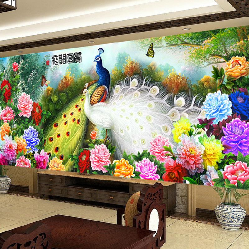 新款5d鉆石畫滿鉆客廳花開富貴孔雀大幅鉆石十字繡鉆石繡磚石畫 滿鉆