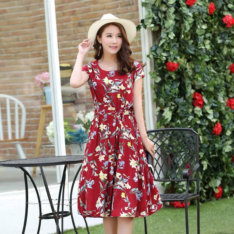2016夏季新款女裝圓領連衣裙棉綢印花短袖時尚顯瘦裙fz1200 深紅色 s圖片