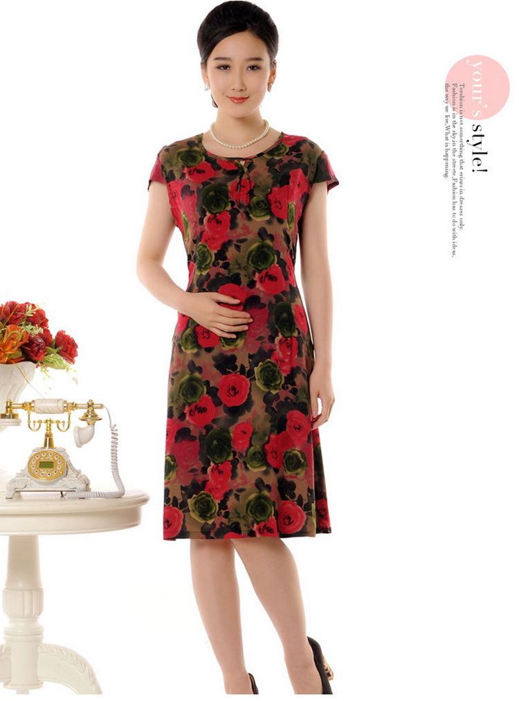 2016新款中老年蠶香棉綢中年女裝夏裝寬松中長裙媽媽裝連衣裙fz974圖片