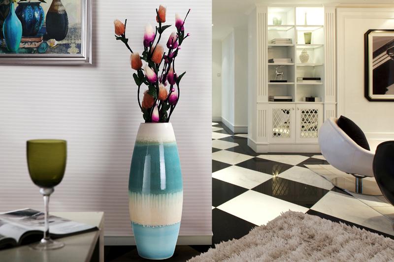 天喜瓷缘 现代简约欧式陶瓷落地大花瓶插 客厅电视柜玄关摆件酒店软装