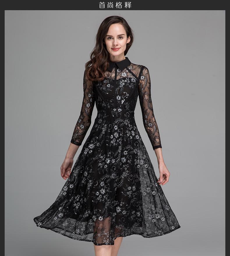 首尚格釋2016夏季新款女裝黑色蕾絲娃娃領中長款連衣裙gd-c238 黑色圖片