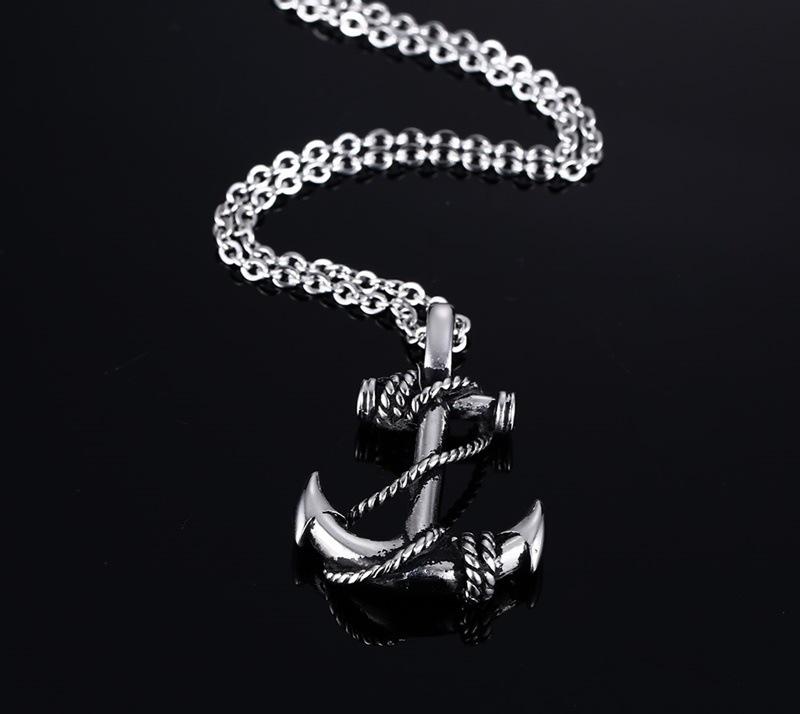 亚欧美粹�)��+9._粹格项链新款欧美时尚金色船锚男士吊坠bxxw3776 钢色
