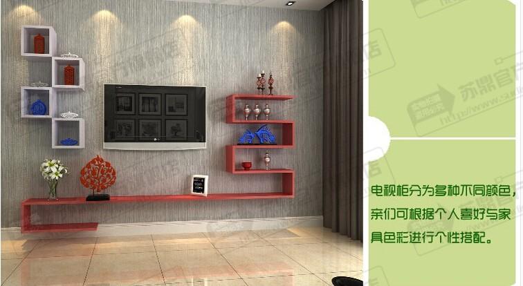 苏鼎创意电视背景墙装饰架电视墙柜隔板机顶盒架电视柜组合尺寸可定