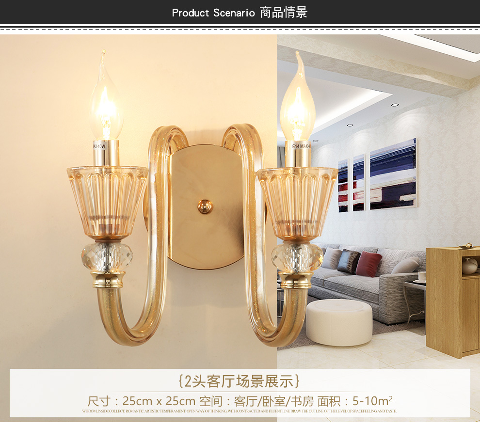 Tleidi European lighting lamps living room bedroom crystal wall lamp ...