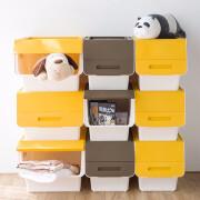 동백 CHAHUA 동백 플라스틱 가정용 화장품 보석 보관 상자 대형 34L * 3 어린이 장난감 보관 비스듬한 열기 측면 열기 [1 팩] 노란색 34L