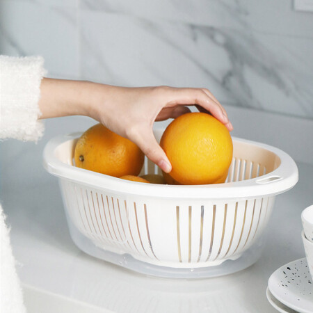Full-time net red double-layer drain basket wash basket plastic fruit plate fruit and vegetable drain Panjin basil drain tableware storage rack basket with cover storage basket apricot