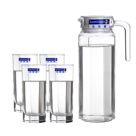 Le Meiya Luminarc lead-free glass cold water juice jug cool kettle tea cup octagonal kettle beverage utensils 5-piece set
