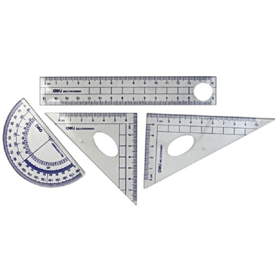 Effective deli9597 student stationery drawing ruler four-piece ruler straight ruler triangle ruler *2+ protractor