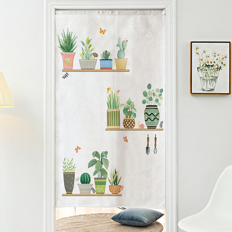 Diyn DIYIN door curtain art curtain decoration household feng shui curtain bedroom kitchen smoke-free bathroom no punching curtain fresh green plant 85cm x 150cm