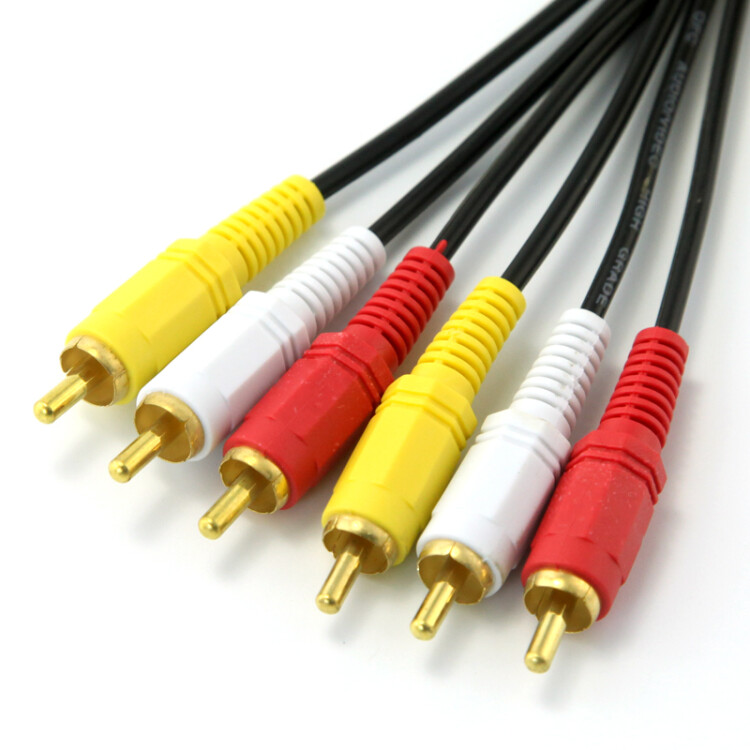 eKL three pairs of three lotus head line 5 meters AV audio and video cable 3RCA male to red line red white and yellow TV set top box line