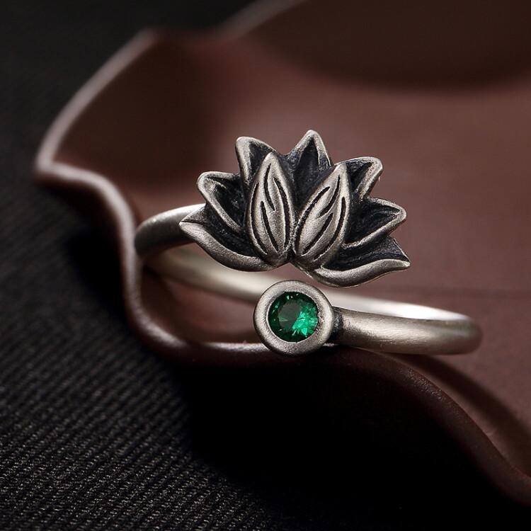 S925 Sterling Silver Vintage Lotus Ring Send Girlfriend Girlfriends Birthday Gift Christmas Opening Adjustable