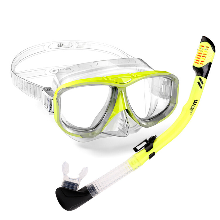 WaterTime Frog Snorkeling Snorkeling Sambo Set Goggles Adult Full Dry Snorkel Equipment Diving Mask Yellow