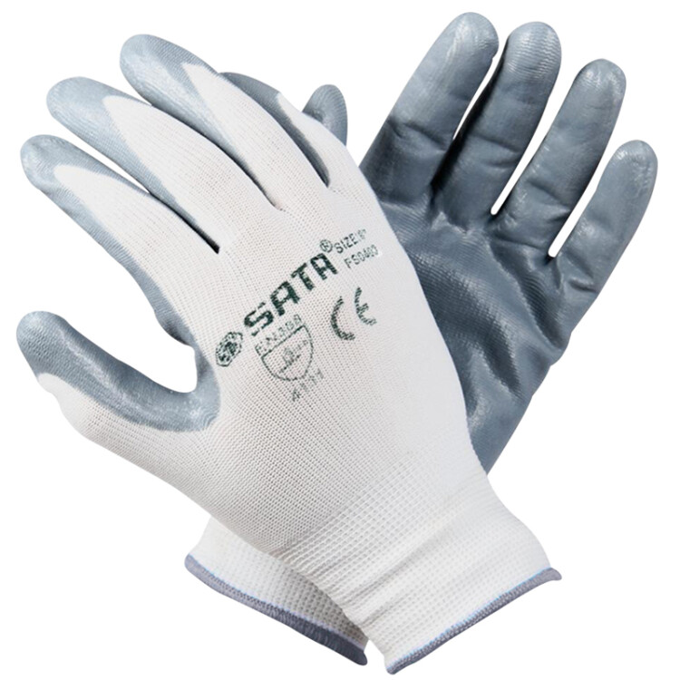 Shida (SATA) FS0402 work gloves nitrile wear palm dipped coating coating non-slip gloves comfortable breathable dust-proof work gloves 8 inches
