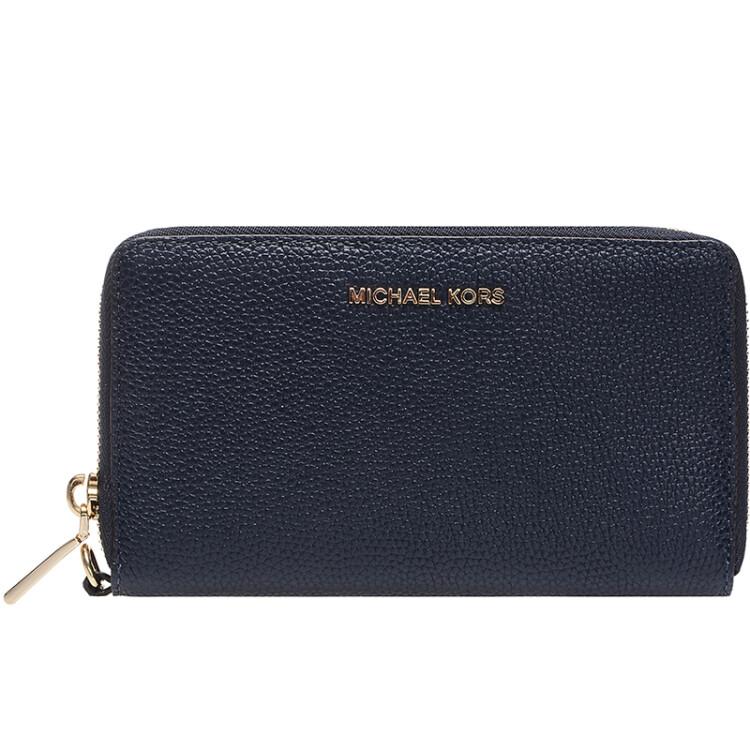 d90bb1b89f44 MICHAEL KORS Mike Cos MK Wallet MERCER Navy Blue Rough Leather Women's  Wallet 32F6GM9E3L ADMIRAL