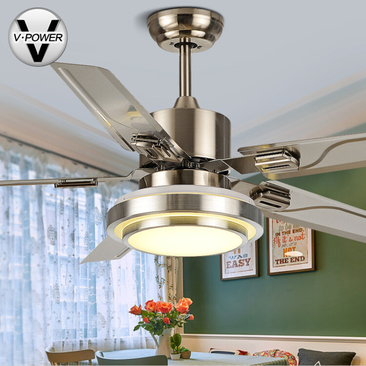 Free installation v power stainless steel ceiling fan light fan free installation v power stainless steel ceiling fan light fan lamp restaurant living room fan lamp simple led leaf fan chandelier 8650 reversal 5 piece mozeypictures Images