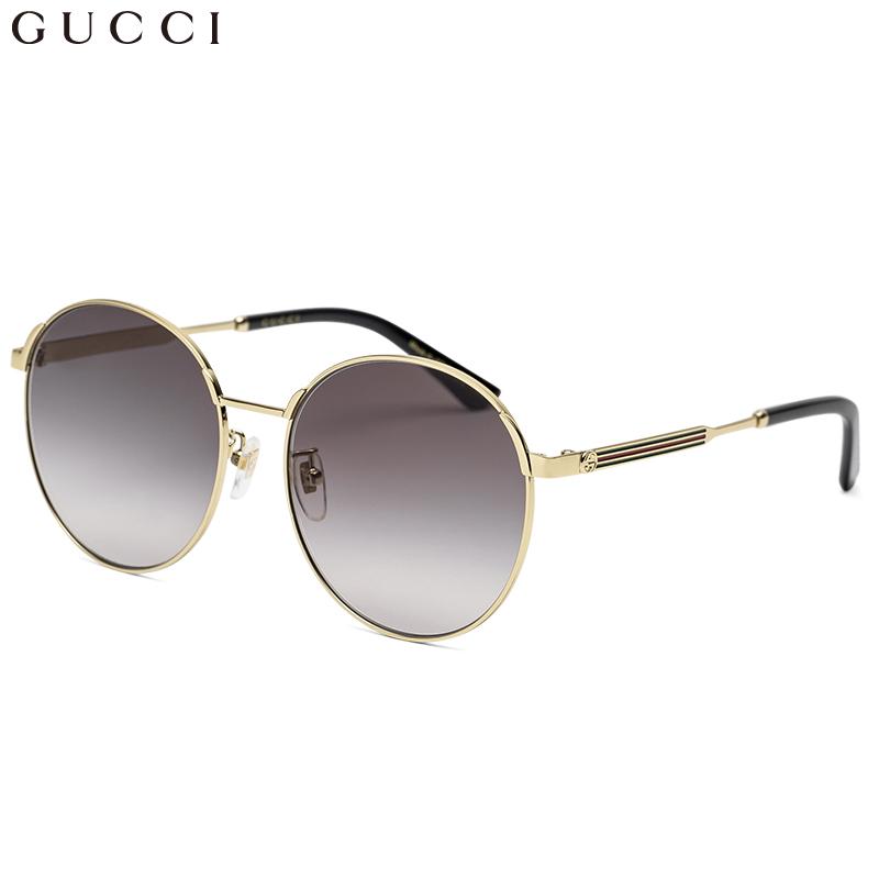 5958553d824 GUCCI Gucci eyewear men and women sunglasses neutral retro round frame  sunglasses GG0206SK-001 gold frame gradient gray lens 58mm