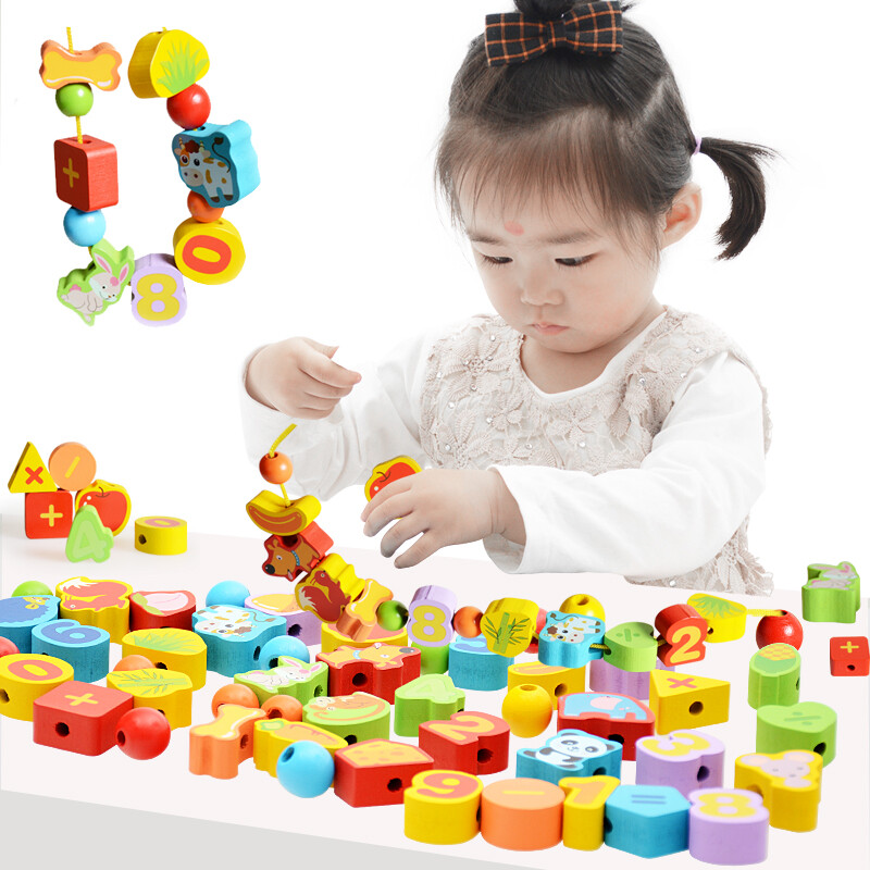Small master early education string beaded toy baby threading blocks children wear beads educational toys 2-3 years old 5 bracelet