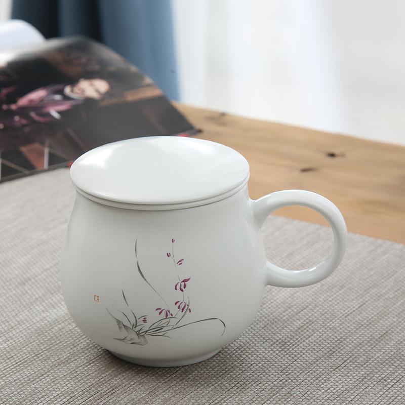 Enjoy The Gift Hand Painted Teacup Ceramic Cover Filter Office Tea Set Jingdezhen Cup Master Mug Men And Women Purple Gl Safe